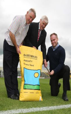 Leinster GAA chairman Sheamus Howlin with Terry McShea and Donal Kearney, IISS launching the Irish Institute of Sports Surfaces Club Playing Surface of the Year. Picture: Alf Harvey, no reproduction fee, supplied from Leinster GAA. Picture: Alf Harvey, no reproduction fee, supplied from Leinster GAA.